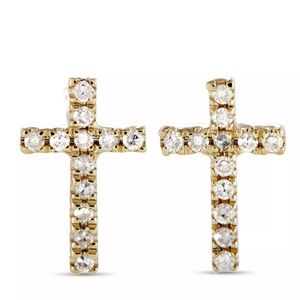 14K Yellow Gold Diamond Cross Stud Push Back Studs